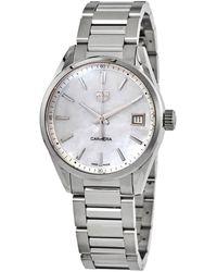 Tag Heuer Carrera 36mm Stainless Steel, Mother-of-pearl & Diamond Quartz Bracelet Watch - Metallic