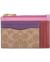 COACH Colorblock Signature Canvas Card Case - Purple