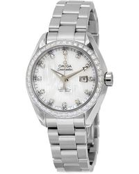 Omega Seamaster Aqua Terra Automatic White Mother Of Pearl Dial Ladies Watch - Metallic