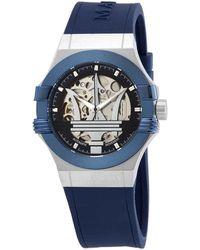 Maserati Potenza Automatic Skeleton Dial Mens Watch - Blue