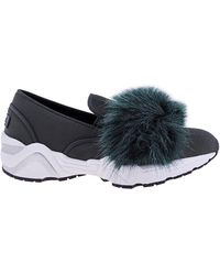 Suecomma Bonnie Ladies Dark Green Sneaker W Eco Fur Top, Brand