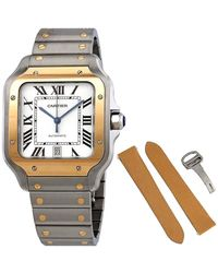 Cartier Santos Automatic Steel And 18kt Yellow Gold Mens Watch - Metallic