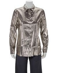 Burberry Ladies Pintuck Detail Silk Shirt, Brand - Multicolour