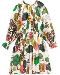 Burberry Girls Tree Print Cotton Silk Poplin Dress, Brand - Green