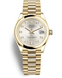Rolex Datejust 31 Silver Diamond Dial Automatic Ladies 18kt Yellow Gold Oyster Watch - Metallic