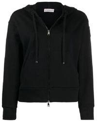 Moncler Ladies Black Hoodie With Zipper And Hood