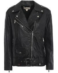 Michael Kors Ladies Crinkled Leather Moto Jacket In Black, Brand