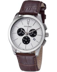 Azzaro Legend Chronograph White Dial Brown Leather Mens Watch