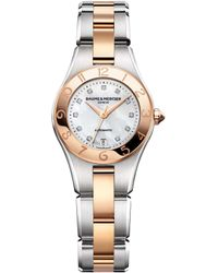 Baume & Mercier Baume And Mercier Linea Automatic Mother Of Pearl Diamond Dial 18kt Rose Gold Steel Ladies Watch - Metallic