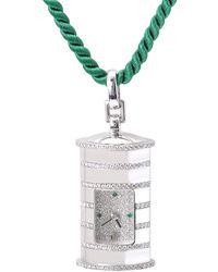 Audemars Piguet 18kt White Gold Diamond Emerald Pendant Watch - Multicolor