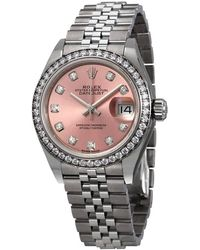 Rolex Lady Datejust Automatic Pink Diamond Dial Ladies Jubilee Watch - Multicolour