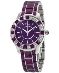 Dior Christal Quartz Diamond Ladies Watch - Purple