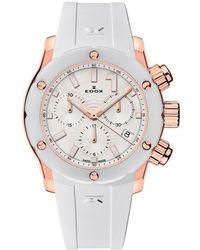 Edox Chronoffshore-1 Chronograph Quartz White Dial Watch  37rb Bir - Metallic