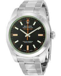 Rolex - Milgauss Black Dial Domed Bezel Green Crystal Oyster Bracelet Unisex Watch 116400v - Lyst