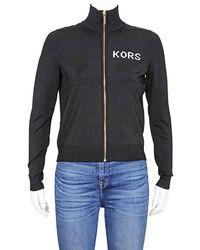 Michael Kors Embroidered Stretch-viscose Track Jacket - Black