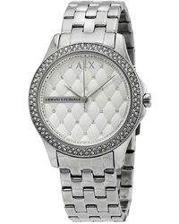 Armani Exchange Lady Hamilton Silver Quilted Dial Ladies Watch - Metallic