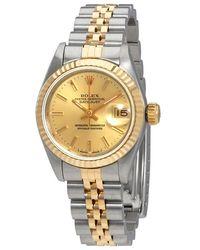Rolex Pre-owned Datejust Champagne Dial Jubilee Bracelet 26mm Ladies Watch - Metallic