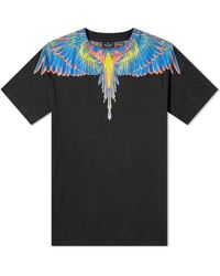 Marcelo Burlon Mens Wings Print Cotton T-shirt In Black/multi