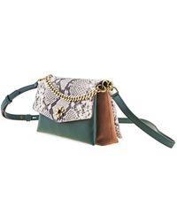 Tory Burch Borsa A Tracolla Kira In Pelle Verde E Patta Stampa Pitone Women's Messenger Bag In Other - Multicolor