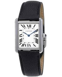 Cartier Tank Opaline Dial Ladies Watch - Black