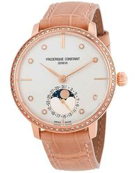 Frederique Constant Slimline Moonphase Automatic Ladies Watch -703vd3sd4 - Metallic
