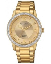 Citizen Quartz Crystal Gold Dial Ladies Watch -86p - Metallic