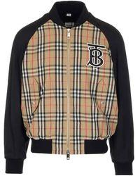Burberry Mens Monogram Motif Vintage Check Nylon Bomber Jacket - Natural