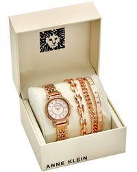 Anne Klein Blush Mother Of Pearl Crystal Dial Ladies Watch Set - Metallic