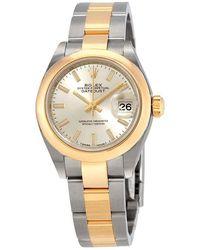 Rolex Lady Datejust 28 Silver Dial Steel - Metallic