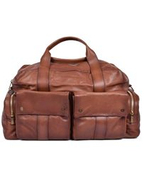 Brunello Cucinelli Men's Light Brown Multi Pocket Leather Travel Bag With Shoulder Strap