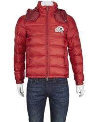 Moncler Bramant Padded Logo Jacket In Red