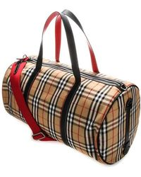 Burberry Large Vintage Check And Leather Barrel Bag - Multicolour