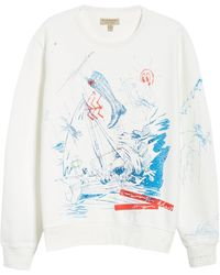 Burberry Embroidered Sketch Cotton Sweatshirt In Natural White