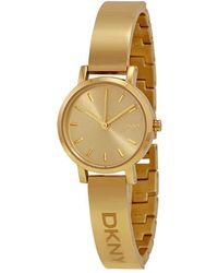 DKNY Soho Round Champagne Dial Gold-tone Ladies Watch - Metallic
