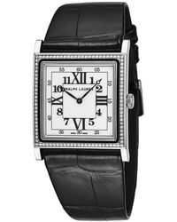 Ralph Lauren Slim Classique Automatic White Dial Ladies Diamond Watch - Black