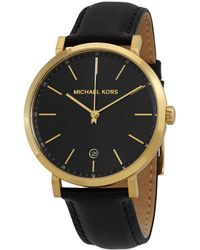 Michael Kors Oversized Irving Gold-tone And Leather Watch - Black