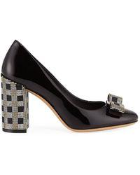 Ferragamo Salvatore Mosaic Vara Bow Pump Shoe - Black