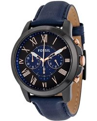 Fossil Grant Chronograph Black And Blue Dial Mens Watch