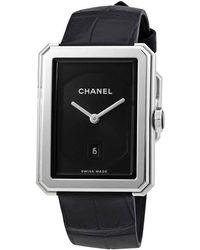 Chanel Boy-friend Black Guilloche Dial Watch