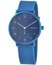 Skagen Unisex Aaren Kulor Silicone Strap Watch - Blue