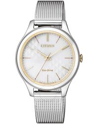Citizen White Dial Eco-drive Ladies Stainless Steel Mesh Bracelet Watch -81a - Metallic