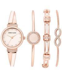 Anne Klein Pink Dial Quartz Ladies Watch Set