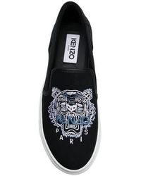 KENZO Ladies K-skate Tiger Slip-ons - Black