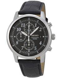 Seiko Chronograph Black Dial Black Leather Mens Watch