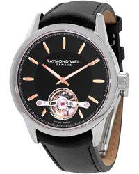 Raymond Weil Raymon Weil Automatic Black Dial Black Leather Mens Watch -sl5-20001 - Metallic