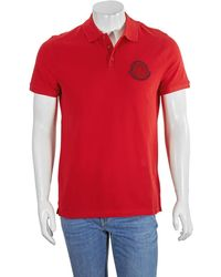 Moncler Mens Embroidered Logo Polo Shirt In Red