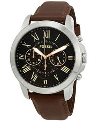 Fossil Grant Chronograph Black Dial Brown Leather Mens Watch - Multicolour