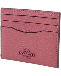 COACH Dusty Pink Grained-effect Cardholder