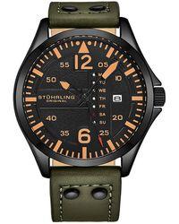 Stuhrling Original Aviator Quartz Black Dial Mens Watch