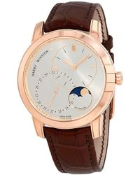 Harry Winston Midnight Silver Dial Automatic Mens 18 Carat Rose Gold Watch - Metallic